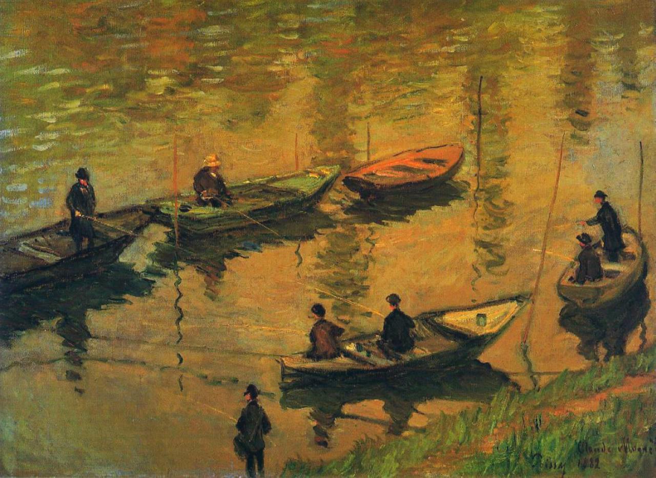 Обои Клод Моне, Два Рыбака, картина, лодка, Пейзаж. Разное foto 13