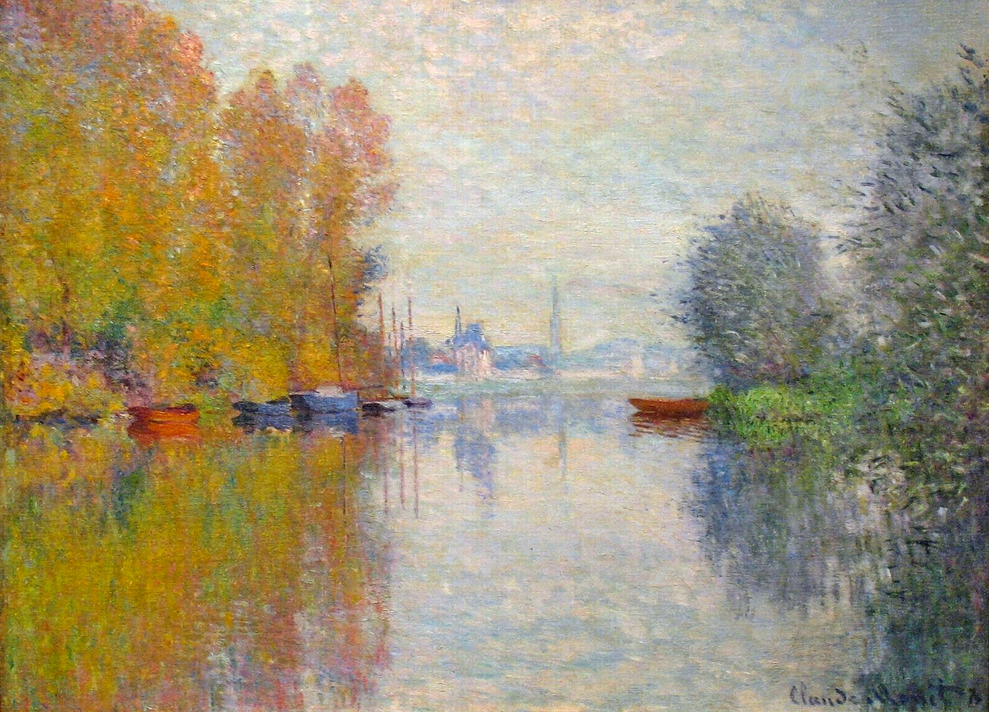 Autumn on the seine at argenteuil 1873 claude monet for Monet paintings images