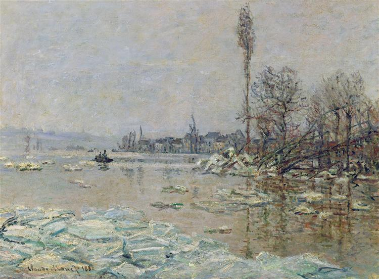 monet break up of the ice Information about 'ibreak-up of the ice on the seine, near bennecourt' by claude monet part of the 'french impressionists' exhibition held.