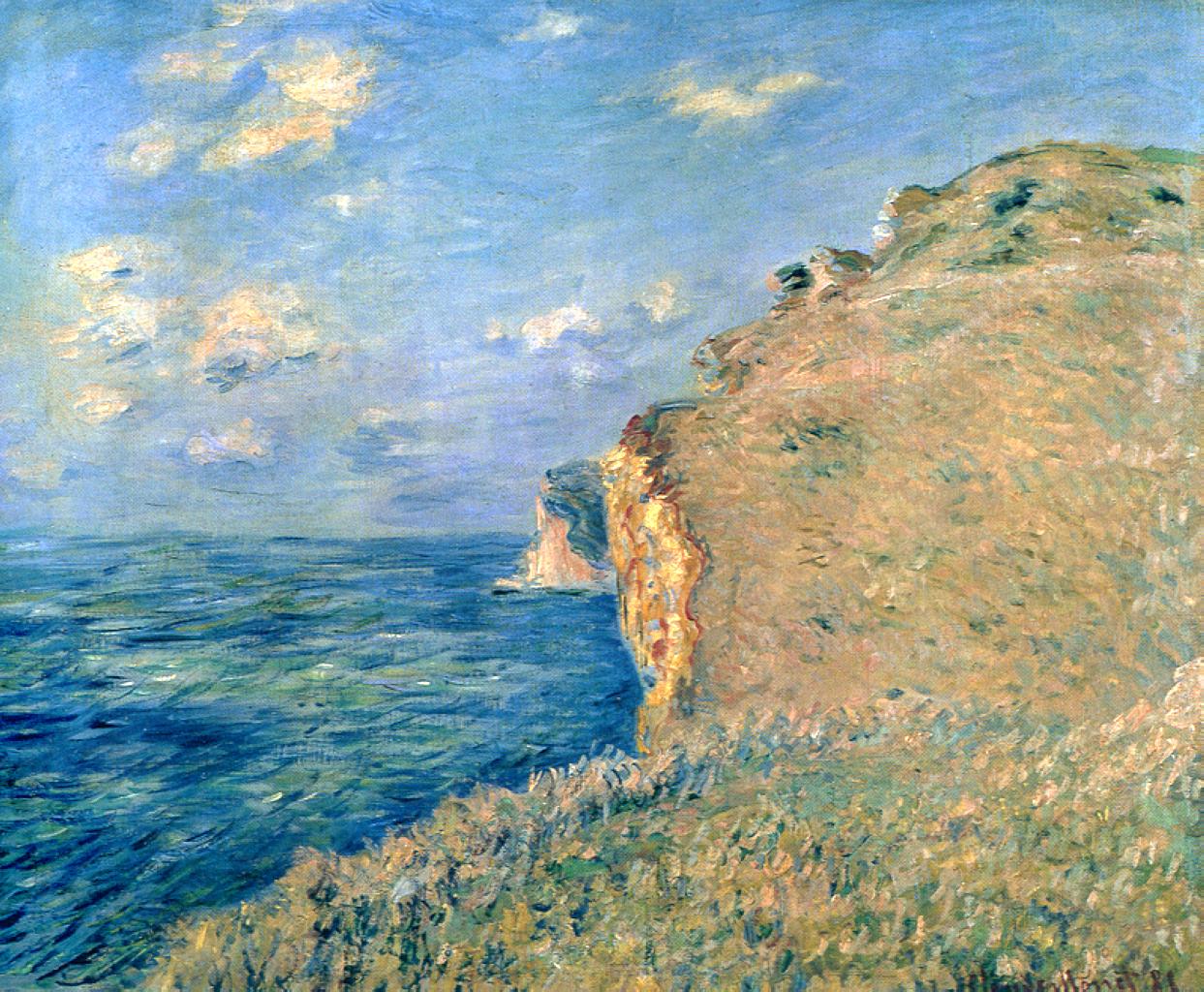 Impressionism Monet Sunrise Cliff at Fecamp, 1881 ...