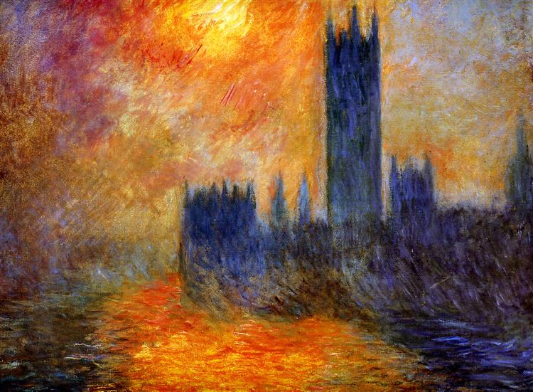 House of Parliament Sun - Claude Monet