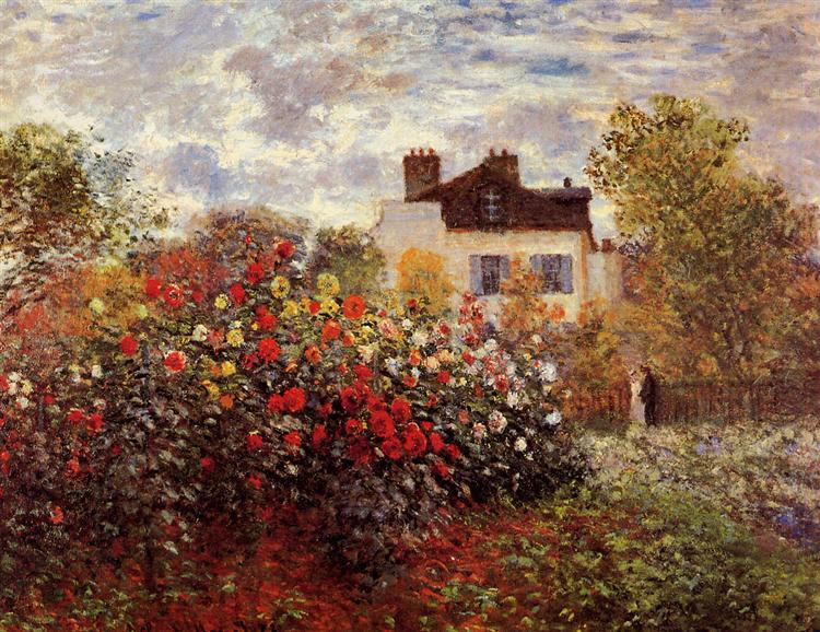 Monet's garden in Argenteuil Sun - Claude Monet