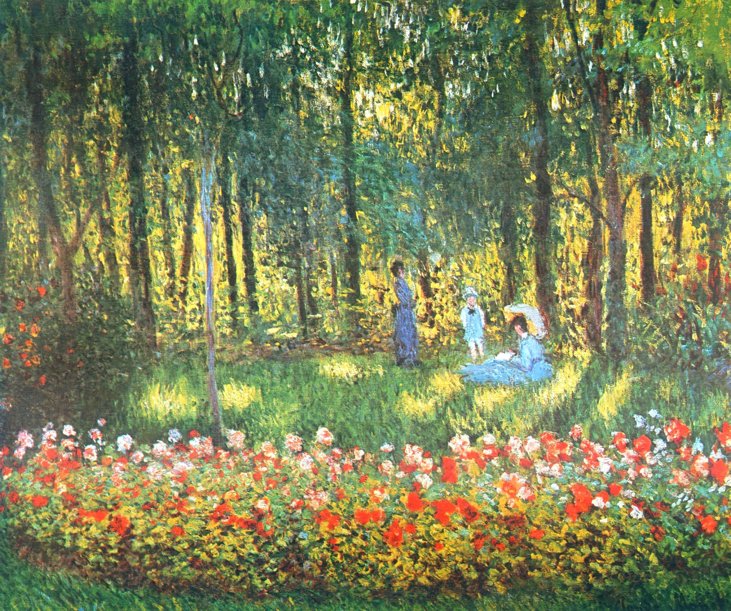 The artist 39 s family in the garden 1875 claude monet for Garden painting images
