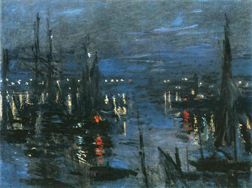 The Port of Le Havre, Night Effect - Claude Monet