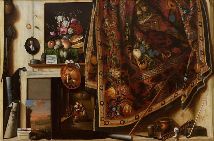 Trompe l'oeil. A Cabinet in the Artist's Studio, 1671 - Cornelis Gijsbrechts