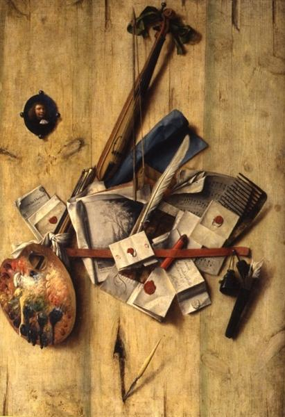 Trompe l'oeil with violin, painter's implements and self-portrait, 1675 - Cornelis Norbertus Gysbrechts
