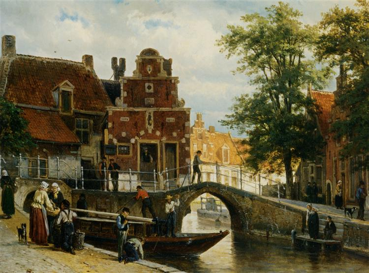 A View of Franeker with the Zakkendragershuisje, 1872 - Cornelis Springer