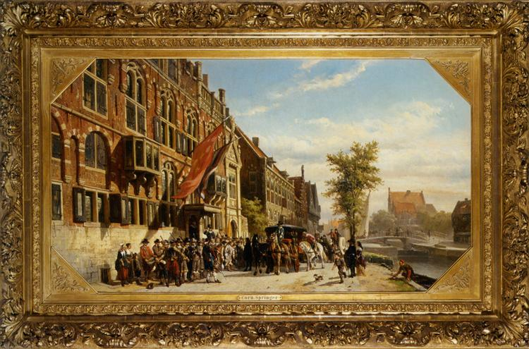 A visit of Bayliff Ten Frootenhuys to the Guild of Archers, 1864 - Cornelis Springer