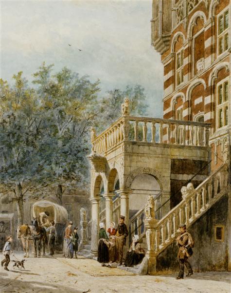 Figures on the Bank in Deventer, 1888 - Cornelis Springer