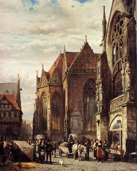 Many Figures On The Market Square In Front Of The Martinikirche, Braunschweig, 1874 - Cornelis Springer