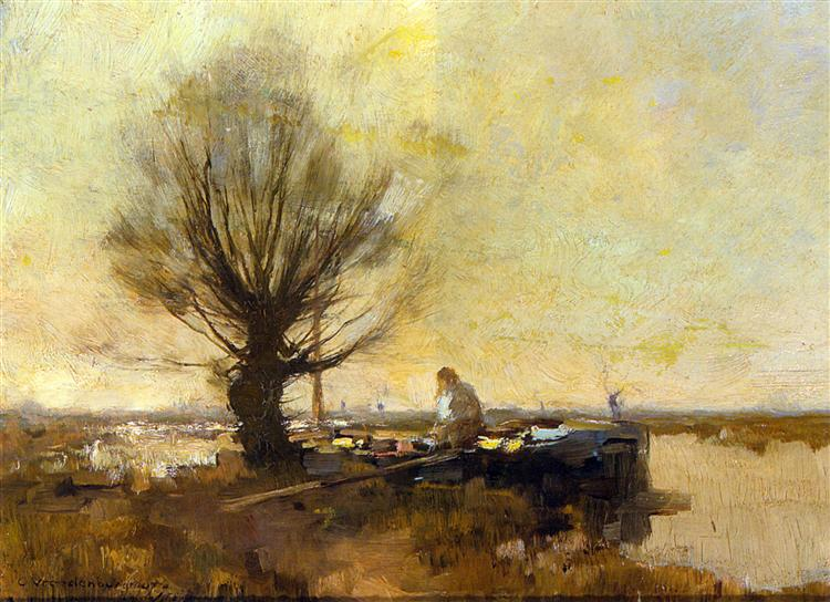 A Peasant in a Moored Barge, 1907 - Корнелис Вреденбург