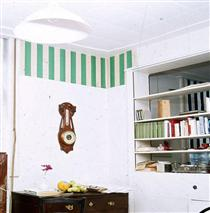 Papiers collés blanc et vert - Даниель Бюрен