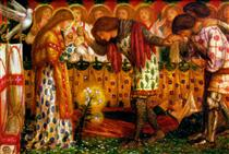 How Sir Galahad, Sir Bors and Sir Percival Were Fed with the Sanct Grael; but Sir Percival's Sister Died by the Way - Dante Gabriel Rossetti