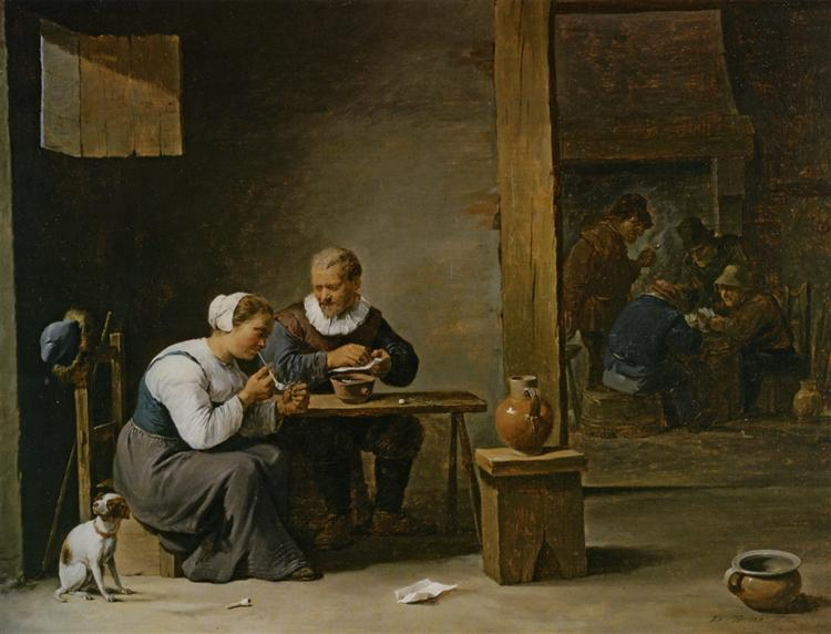 A man and woman smoking a pipe seated in an interior with peasants playing cards on a table - David Teniers the Younger