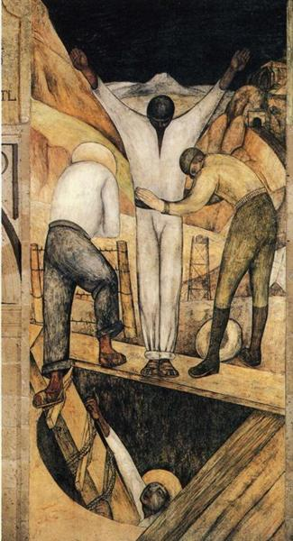 Exit from the Mine, 1923 - Diego Rivera