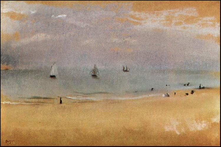 Beach with Sailing Boats, c.1869 - Edgar Degas