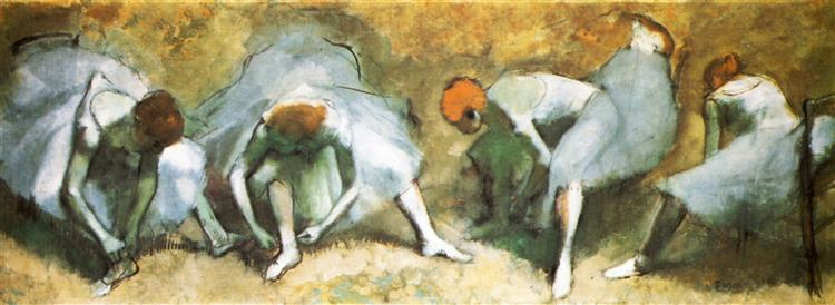 Dancers tying shoes - Edgar Degas