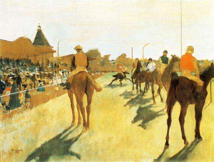 Racehorses before the Stands, 1872 - Edgar Degas