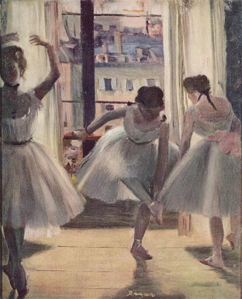 Three Dancers in an Exercise Hall - Edgar Degas