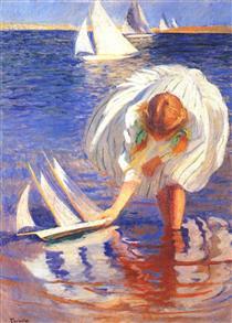 Girl with Sailboat - Edmund Charles Tarbell