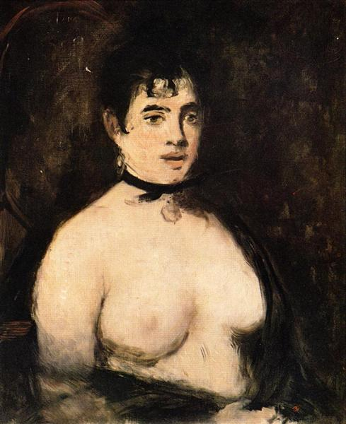 Brunette with bare breasts, 1872 - Edouard Manet