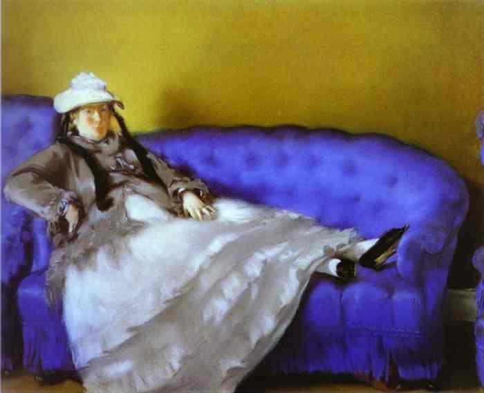 Madame Manet on a Blue Sofa, 1874 - Edouard Manet