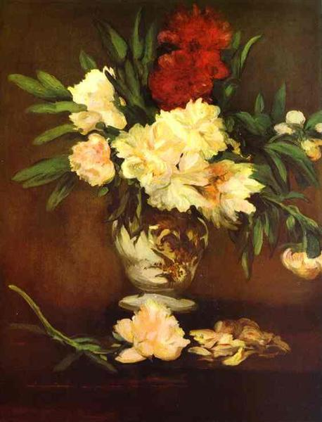 Peonies in a vase, 1864 - Edouard Manet
