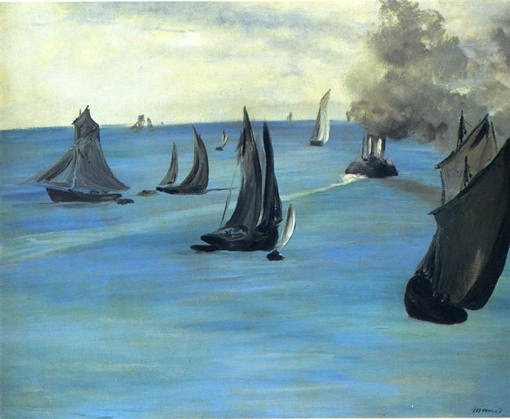 Steamboat leaving Boulogne, 1864 - Edouard Manet