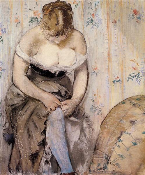 Woman fastening her garter, 1878 - Edouard Manet