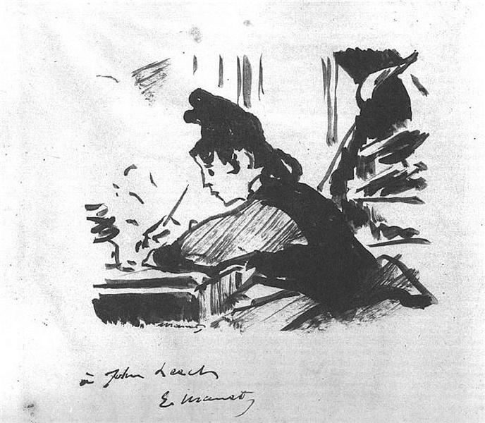 Woman writing, c.1863 - Edouard Manet
