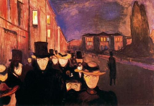 Evening on Karl Johan Street - Edvard Munch