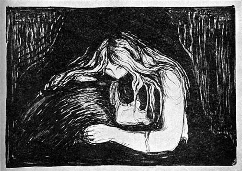 The Vampire Woodcut   Vampire Edvard Munch