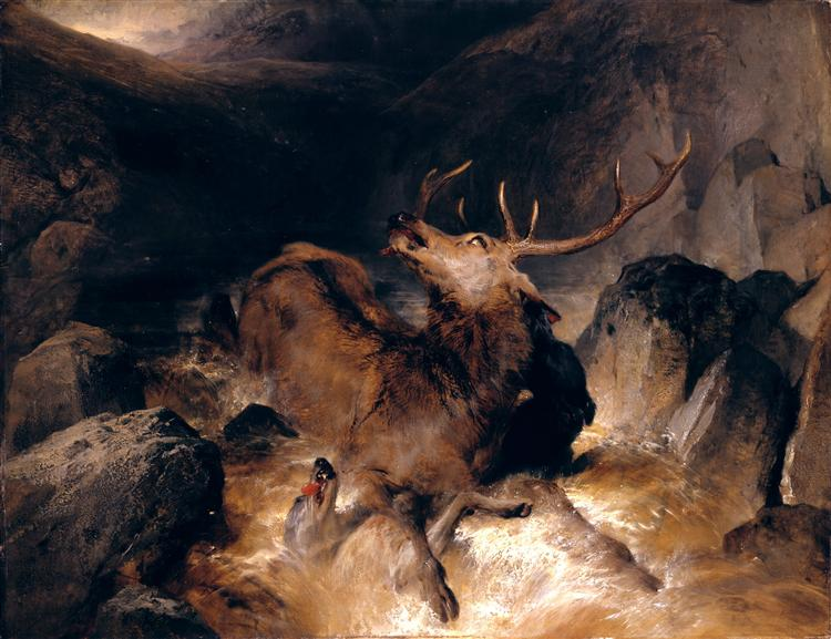 Deer and Deer Hounds in a Mountain Torrent - Edwin Henry Landseer