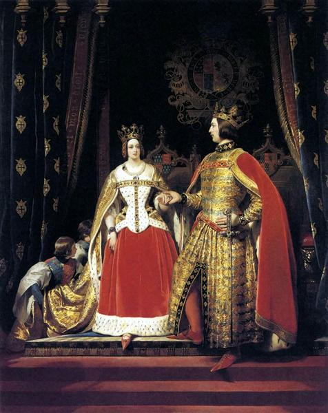 Queen Victoria and Prince Albert at the Bal Costume - Edwin Henry Landseer