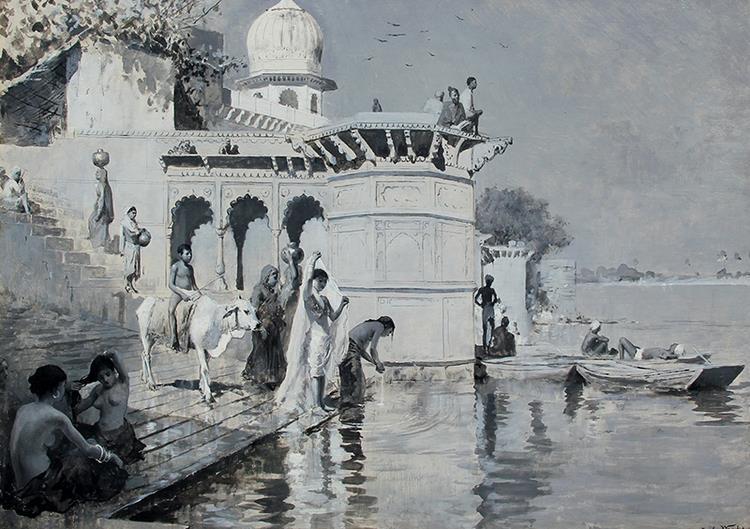 Along the Ghats, Mathura, 1890 - Edwin Lord Weeks