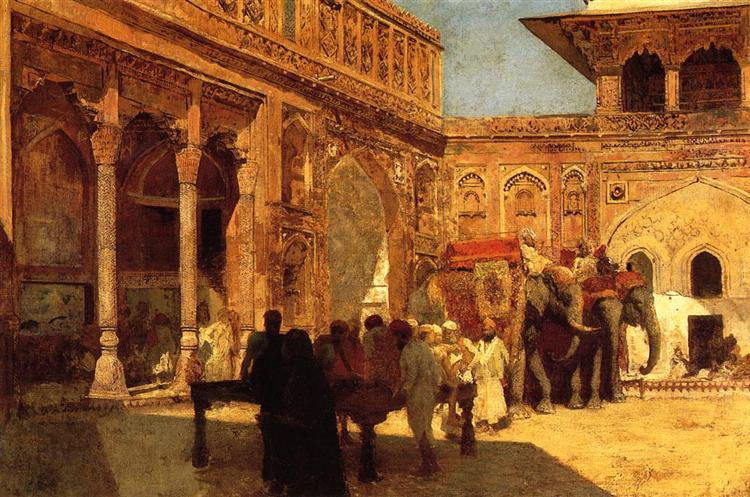 Elephants and Figures in a Courtyard, Fort Agra, c.1890 - c.1899 - Edwin Lord Weeks