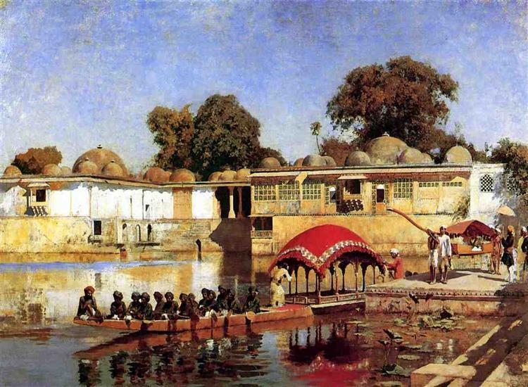 Palace and Lake at Sarket Ahmedabad, India, 1882 - 1893 - Edwin Lord Weeks