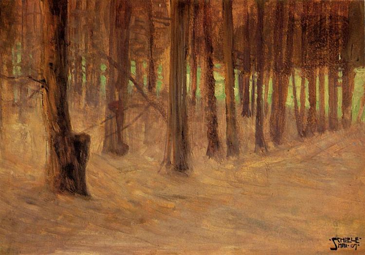 Forest with Sunlit Clearing in the Background, 1907 - Egon Schiele