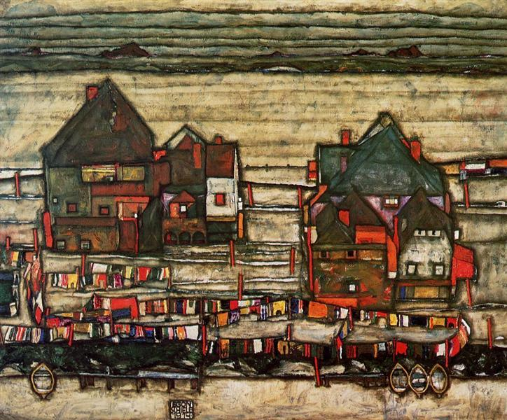 Houses with Laundry (Seeburg), 1914 - Egon Schiele