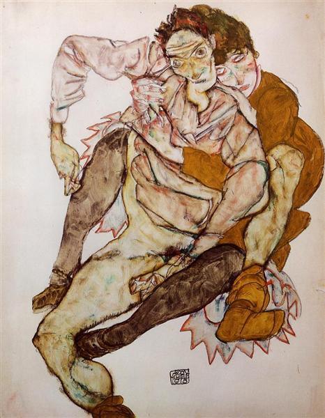 Seated Couple (Egon and Edith Schiele), 1915 - Egon Schiele