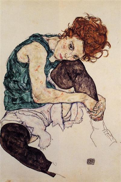 Seated Woman with Bent Knee, 1917 - Эгон Шиле