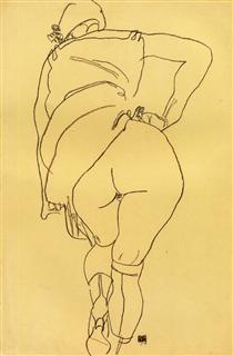Semi Nude, Back View - Эгон Шиле