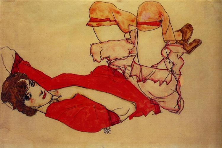 Wally with a Red Blouse, c.1913 - Egon Schiele