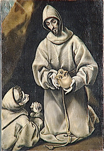 St. Francis and brother Leo meditating on death, c.1600 - El Greco