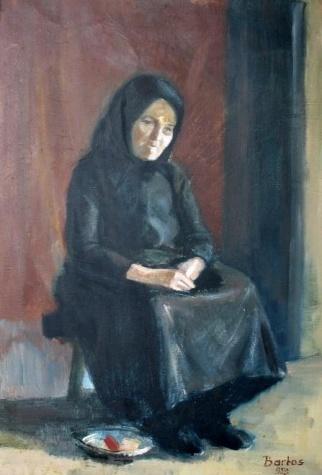 Aged Hungarian peasant woman, 1958 - Endre Bartos