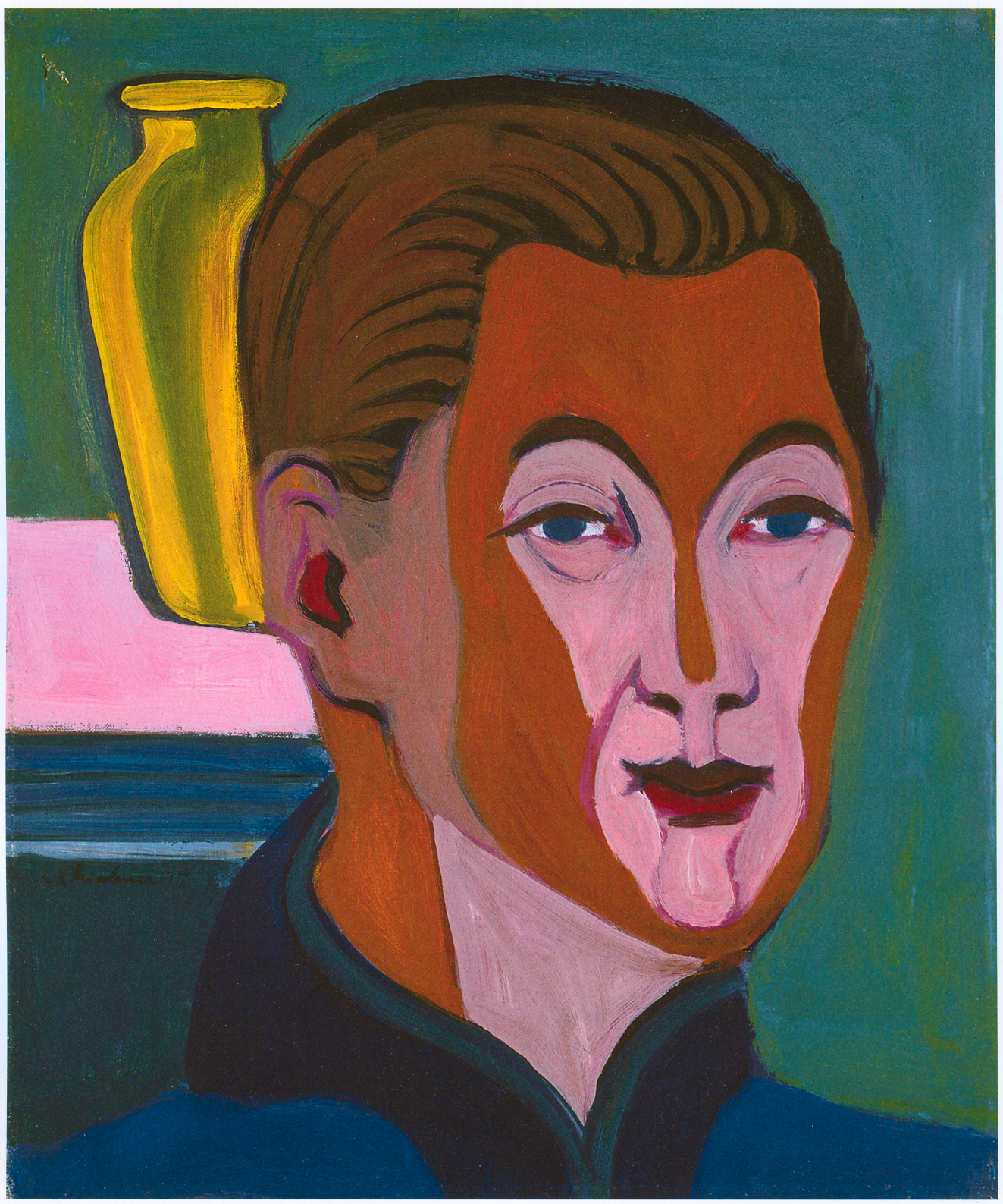 Head of the Painter (Self-portrait) - Ernst Ludwig Kirchner - head-of-the-painter-self-portrait