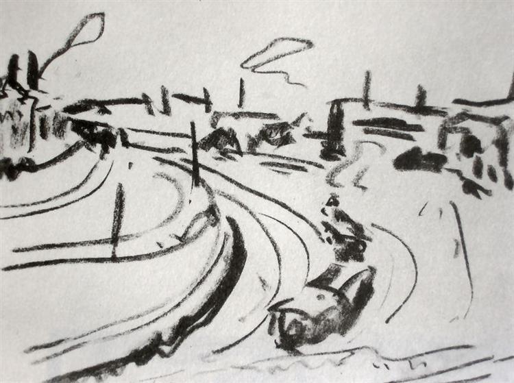 Railway in Dresden, 1908 - 1909 - Ernst Ludwig Kirchner