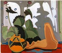 Still Life with Sculpture in front of a Window - Ernst Ludwig Kirchner