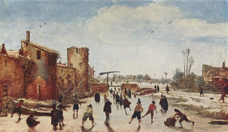 Ice on the moat entertainment - Esaias van de Velde