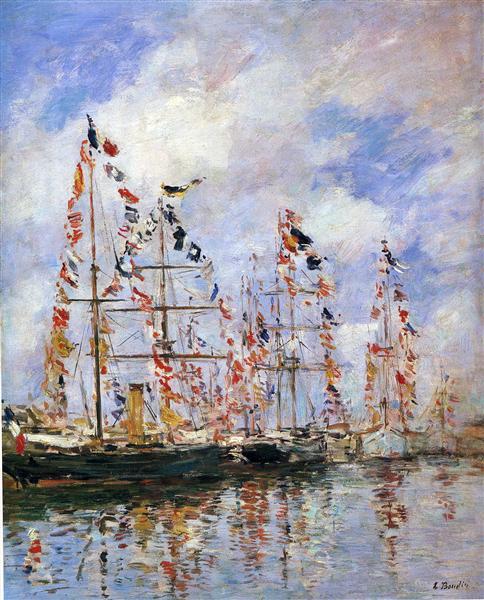 Sailing Ships at Deauville, 1896 - Eugène Boudin